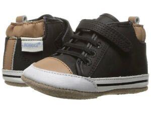 NIB ROBEEZ Shoez Shoes High Top Bootie Brandon Black Brown 3-6m 2