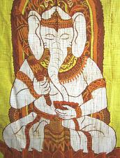 ORIGINALE BATIK Panno Muro Immagine Ganesha Ganapati Indonesia Hindu Trance Hippy NUOVO