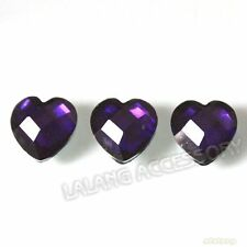 300pcs Dark Purple Heart Stick-on Resin Faceted Embellishments Flatback 10mm L