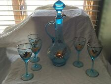 Vintage Romania blue aqua decanter 5 wine stemware gold trim & floral pattern