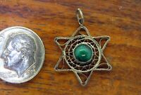 Vintage silver GREEN TURQUOISE STAR OF DAVID HEBREW JEWISH PENDANT charm STYLE 2