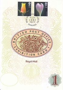 GREAT BRITAIN UK 1987 PHOTOS OF FLOWERS ROYAL MAIL EXHIBITION CARD WITH 2 STAMPS