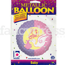 "18"" It's a Girl Pink Purple Stork New Baby Girl Helium Foil Balloon NEW"