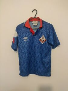 OLDHAM ATHLETIC HOME FOOTBALL SHIRT LARGE BOYS 1991 1993 BLUE UMBRO