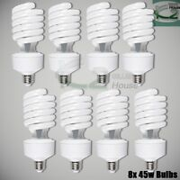 8x 45W 5500K Photo Studio Day Light Balanced CFL Bulbs Compact Fluorescent Lamps