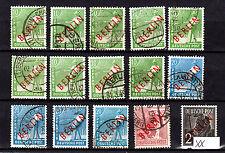 Berlin Rotaufdruck, Steckkarte mit 14 Marken gestempelt,1x postfrisch,siehe Scan