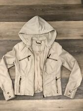 Jou Jou Girls Faux Leather Jacket With Detachable Knit Hood Size L (10-12)