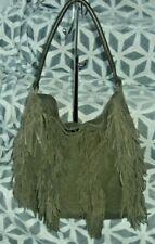 Topshop Large Genuine Suede Leather Fringe Tote Bag boho