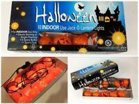 Vintage Orange Hard Plastic Halloween Jack-o-lantern Pumpkin 10 Light Set Tested