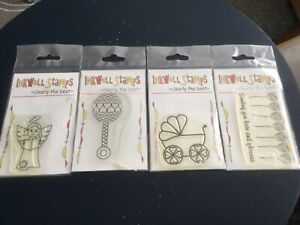4 CLEAR STAMPS FLOWERS,RATTLE,ANGLE,PRAM INKWELL SEALED BRAND NEW