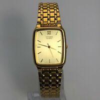 Citizen Mens 6031 Gold Tone Base Metal Japan Movement Quartz Analog Wristwatch
