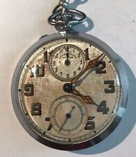 Vintage Abercrombie & Fitch Co Alarm Pocket Watch Stainless Steel Runs