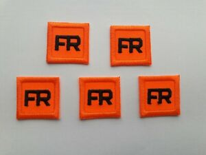 5 - Orange Replacement FR Patches Iron On Fire Retardant Pants Shirt Jacket Tag