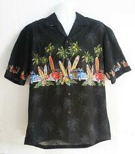Pacific Legend Hawaiian Aloha Shirt Xl Black Surf Palm Trees Woody Usa