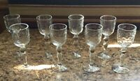 Set of 8 Vintage Cut Etched Crystal Liquor After Dinner Drink Stemware