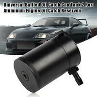 Universal Baffled Aluminum Oil Catch Can 2 Port Oil Catch Tank Reservoir Filter
