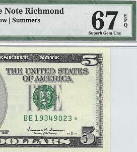 1999 $5 RICHMOND * STAR * 🌟 FRN, PMG SUPERB GEM UNCIRCULATED 67 EPQ BANKNOTE, 3