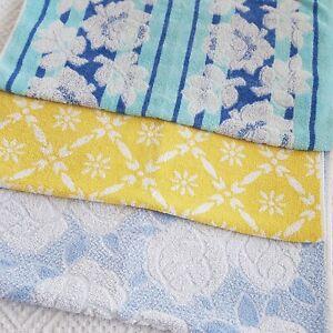 Vintage Retro 3 blue yellow Hand Towel Towels set 60s 70s 80s vw camper