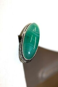 """#T11-6-1   STERLING PLATED GREEN BOTSWANA AGATE  RING   SIZE 7  1"""" LONG"""