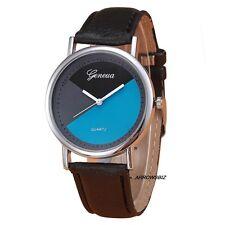 New Colour Block Dial Leather Strap Analog Quartz Wrist Watch Watches UK Seller