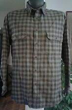 Mens Gray Black Plaid WOOLRICH Casual Flannel Shirt Button Front Cotton XL