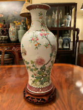 A Large Chinese Republic Period Famille Rose Porcelain Vase with Stand, Drilled.