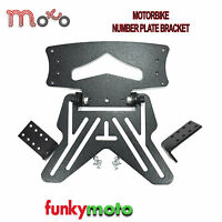 MOTORBIKE NUMBER PLATE HANGER BRACKET UNIVERSAL MOTORCYCLE TAIL TIDY BLACK