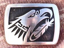 Hopi Overlay Eagle Sterling Silver Belt Buckle Hallmarked