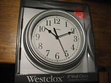 Westclox 46984 inch Westclock inch Quartz Movement Round Wall Clock 9 inch Silve
