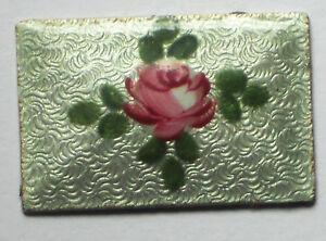 #1281B Vintage Guilloche Enamel Cabochons Rectangle NOS Rose Floral Cloisonne