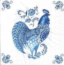 Lot de 2 Serviettes en papier Coq Bleu Decoupage Collage Decopatch