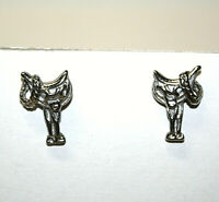 Horse Riding Saddle Silver Toned Stud Earrings Cowboy Western Costume Jewelry