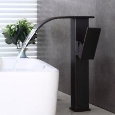 Waterfall Spout Black Brass Basin Mixer Bathroom Deck Mount Sink Faucet Tap