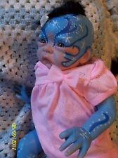 REBORN MYTHICAL WATER NYMPH BABY BLUE AVATAR ALIEN ART DOLL OOAK DEITY