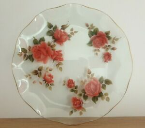VINTAGE ROUND GLASS FORAL RED ROSES SANDWICH PLATE C1950'S