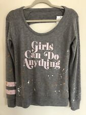 Chaser Girls Can Do Anything Sweatshirt Grey Size XS