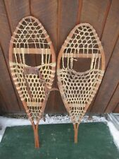 """Old Snowshoes 41"""" Long x 13"""" Wide One Leather Bindings Great for Decoration"""