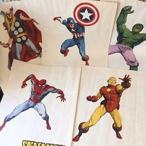 Lopez Espi Vintage Marvel Comics Posters Iron Man Captain America Spider-Man