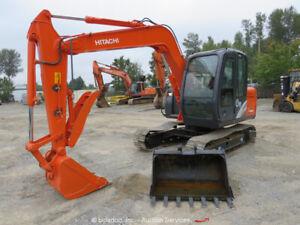 2014 Hitachi ZX70 Hydraulic Mini Excavator Cab A/C Thumb Isuzu Diesel bidadoo