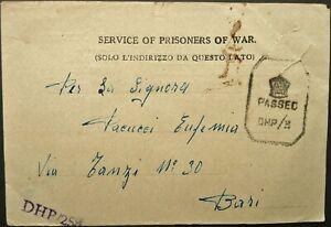 ITALIAN WWII PRISONER OF WAR IN BOMBAY, INDIA 1945 CENSORED POSTAL CARD TO BARI