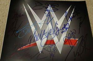 SIGNED BY 13 WWE WWF SUPERSTAR 11X14 LOGO GOLDBERG SHANE MCMAHON PAUL HEYMAN