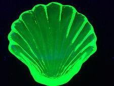 Green Vaseline glass Sea oyster Shell uranium fish salt dip cellar yellow canary