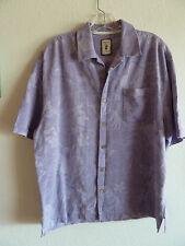 JAMAICA Jaxx CLARO Lavanda SEDA Auténtico Hawaiian Estilo Camisa L