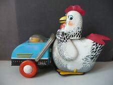 Blechhuhn mit Kinderwagen Spielzeug Bastlerstück defekt / Made in China ca. 1950