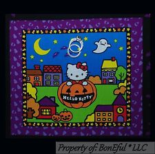 BonEful Fabric Cotton Quilt Block HELLO KITTY Halloween Square Applique Kid Girl