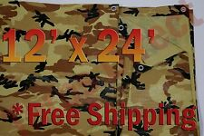 12' x 24' Camo Brown Beige Tarp Hunting Firewood Waterproof Camping Woodpile ATV