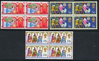 GB 1969 Christmas unmounted mint set as blocks of 4 stamps