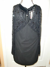 """NWT$170.00""""JSB OUTIQUE"""" Black Sequente Lined Sheer Mini Dress size 6. CUTE!"""