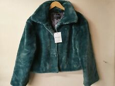 RUT&CIRCLE Elin Faux Fur Short Jacket-Green Size S