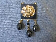 Vintage art deco goldtone flower black glass dangles medallion pendant